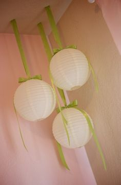 Love this for a Baby Shower Decor!  Round Lanterns with ribbons hanging down from ceiling.