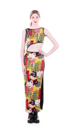 f3cd110e2e1f90 90s Vintage Geisha Print Maxi Dress Long Black Colorful Novelty Cut Out  Bodycon Club Kid Raver Kawaii Clothing Womens Size XS Small