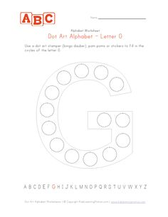 Dot art letter G. Use dot art markers (aka bingo daubers) with this letter G worksheet that is perfect for toddlers and preschoolers. Letter G Activities, Letter G Worksheets, Fun Activities For Toddlers, Reading Worksheets, Preschool Activities, Preschool Ideas, Teaching Ideas, Teaching Letters, Preschool Letters