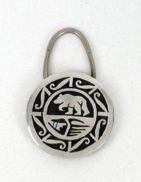 Native American Hopi Indian Sterling Silver large bear Key Ring