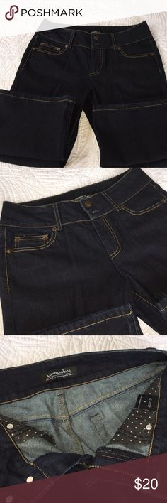VS London Jean Stretch Jeans VS London Jean Stretch Jeans.  Size 8, Never Worn!  Dark Blue, 2-Button Zip Up Fly Hipsters, Boot Cut.  31 1/2 Inch inseam.  Excellent-brand new Condition. VS London Jean Jeans Boot Cut