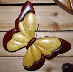 Intarsia Yellow Heart Butterfly Wall Plaque