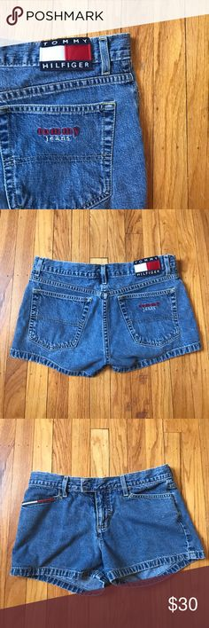VINTAGE TOMMY HILFIGER JEAN SHORTS SUPER cute vintage tommy shorts found them in my aunts closet and i was so sad they didnt fit :( measurements will be posted within the next few days!! Tommy Hilfiger Shorts Jean Shorts