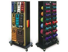 Home exercise equipment storage that is compact and tidy! Keeps all your equipment packed away in one organized location! Won't have to trip over those loose weights again!