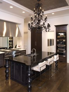 floor, contemporary kitchens, chairs, black kitchens, ceilings, modern kitchens, kitchen islands, dream kitchens, white kitchens