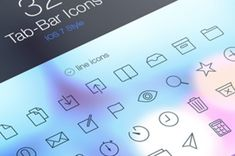 A series of iOS 7 inspired tab bar icons with a mix of default icons and custom ones. Those new icons...