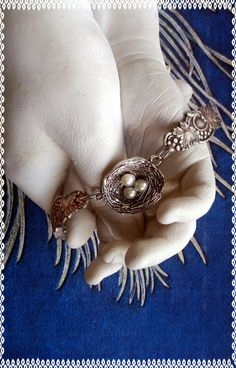 Handmade silver birds nest and pearls spoon bracelet for a