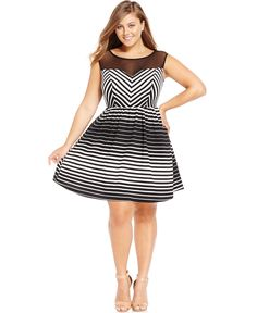 72a790bba819 Trixxi Plus Size Striped Illusion A-Line Dress & Reviews - Dresses - Plus  Sizes - Macy's