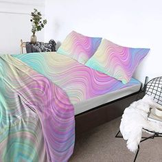 Amazon.com: BlessLiving Teen Girl Sheets Full Size Pink 4-Piece Bed Sheet Sets 3D Pastel Rainbow Marble Premium Quality 1800 Microfiber Non-Fade Breathable Soft Bedding (1 Flat Sheet,1 Fitted Sheet,2 Shams): Home & Kitchen Cheap Sheet Sets, Bed Sheet Sets, Flat Sheets, Bed Sheets, Marble Sheets, Amber Room, Rainbow Bedding, Mattress Covers