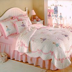 Create a beautiful bedroom for your little ballerina with the Ballet Lessons Quilt Set. This set features applique ballerinas with an applique ribbon-shaped border on a solid white machine-stitched face and is finished with elegant scalloped edges.