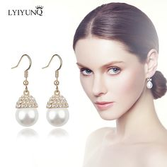 Hot Sale Gold Plated Drop Earrings Rhinestone and Simulated Pearl  Dangling Earrings Beautiful Jewelry for Charm Girl Women