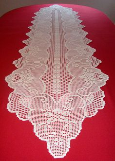 Items similar to Handmade crochet table runner - cotton - Ecru color - Dimensions: 222 cm x 55 cm on Etsy Crochet Table Runner, Crochet Tablecloth, Doily Patterns, Crochet Patterns, Crochet Dollies, Filet Crochet Charts, Fillet Crochet, Cable Knitting, Handmade Table