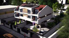 Case cuplate ''in oglinda''- Vedere aeriana  Duplex single-family homes- Aerial view  Etichete: proiecte case, proiecte vile, proiecte case complexe, proiecte case cu etaj, proiecte case cu mansarda, case moderne Vile, Interior, Model, Attic, Houses, Balcony, Loft Room, Homes, Indoor