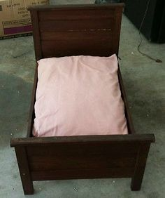 "Antique Wood Mahogany Doll Bed Dog Bed Solid Wood Handcrafted Wood     ""REDUCED"""
