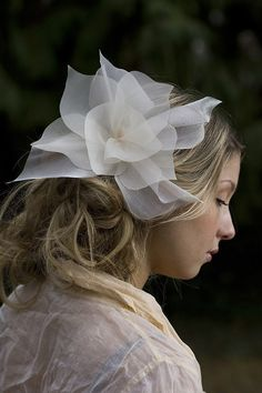 The Juliet...seared organza petals in pale ivory and by austie, $68.00