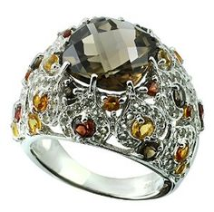 7.84 Carats Smoky Quartz with Garnet, Citrine and White Topaz Sterling Silver Ring available at joyfulcrown.com
