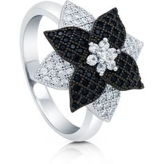 BERRICLE BERRICLE Sterling Silver 0.61 ct.tw CZ Flower Black and White... (655 VEF) ❤ liked on Polyvore featuring jewelry, rings, clear, women's accessories, band rings, cocktail rings, cubic zirconia rings, sterling silver rings and statement rings