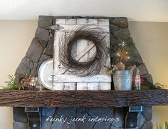 DIY old gate for backdrop on fireplace