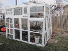I purchased a very expensive plastic and aluminum greenhouse and it got blown over and broke after a couple of months.  This greenhouse with recycled windows has given me motivation to finally start building my own with windows I saved from my own house (135 years old).