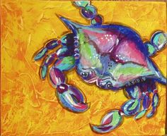 Crab Colorful Animal Paintings, Colorful Animals, Crab Painting, Painting & Drawing, Crab Decor, Crab Art, Hand Painted Wine Glasses, Acrylic Painting Techniques, Images Wallpaper