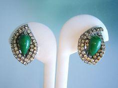 VINTAGE KRAMER GREEN ART GLASS RHINESTONE EARRINGS | eBay