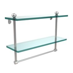 Allied Brass 16 in. L x 12 in. H x 5 in. W 2-Tier Clear Glass Bathroom Shelf with Towel Bar in Satin Chrome