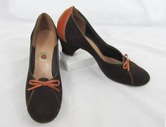 3c3735e8c 1950s Brown Suede   Leather Shoes by Red Cross Shoes - size 7-8