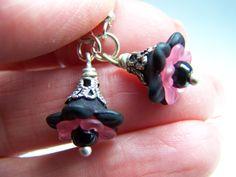 Pink Black Flower Lucite Dangle Earrings Doodaba by doodaba Tote Bags Handmade, Handmade Items, Pink Earrings, Dangle Earrings, Beaded Flowers, Pink Flowers, Art Deco Wedding, Red Rhinestone, Vintage Pink
