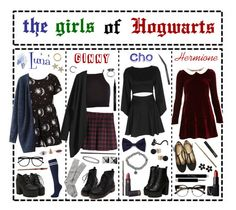"""""""- ̗̀ the girls of hogwarts  ̖́-"""" by i-get-a-little-bit-breathless ❤ liked on Polyvore featuring Japonesque, Kreepsville 666, Exclusive for Intermix, Motel, H&M, River Island, Brooks Brothers, Waterford, Karen Kane and Delfina Delettrez"""