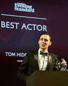 Tom Hiddleston. #ESTheatreAwards2014 Via Torrilla.tumblr.com