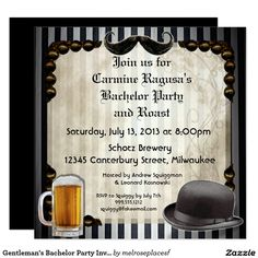 Gentleman's Bachelor Party Invitations, Version 7 Card