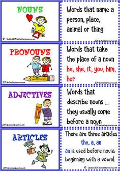 The resource is designed to support how words are classified and defined, and fitted together to form a sentence. Adjectives For Kids, Verbs For Kids, Grammar For Kids, Learn English Grammar, English Writing Skills, Learn English Words, Parts Of Speech Worksheets, Part Of Speech Noun, Parts Of Speech Activities
