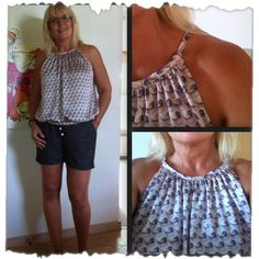 Mønster på simpel sommertop. | Sygal Sewing Blouses, Shirt Blouses, Shirts, Diy And Crafts, Projects To Try, Couture, Crop Tops, Womens Fashion, Pattern