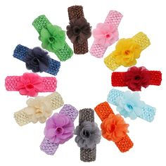 Veenajo 12 Pcs Baby Girl's Soft Headbands With Flower Boutique Hair Accessories. Bowknot bows size: Approx 7.5cm in length,good elasticity. Stretchy, won't leave marks on your baby's head, easy for babies to pull off. Suitable for 0~10 years old baby, pefect for baby, newborn, infant and toddler. Color: 12 different colors, they are all very lovely and bright.You will get many different color headbands suitable for every occasion and any season. Each hair bow is made with high quality…