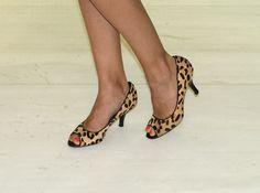Leopard Print Peep Toe Kitten Heels