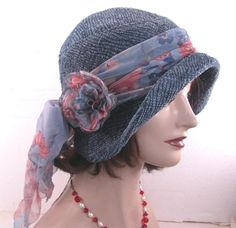 Vintage Inspired Cloche Hat in a Smokie Teal Blue with ♥ by BuyGail