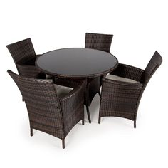 Rattan Patio Furniture 4 Armchair & 105cm Round Table Modern Outdoor Garden Set  | eBay