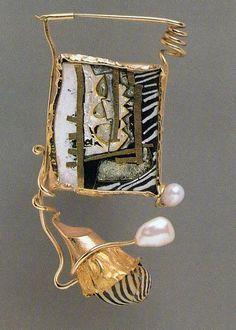 william harper   THE WIZARD  1979 gold cloisonne' enamel on copper; 14 and 24 kt gold; sterling silver; pearls; shell