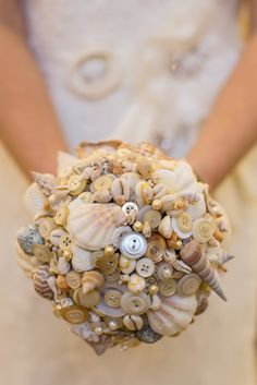 Shell and button bouquet by PumpkinandPye on Etsy, £140.00