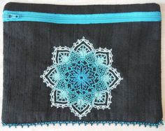 Hand Beaded, Embroidered, Dupioni Silk, Zippered Tarot Bag, Purse, Mendhika, Medallion