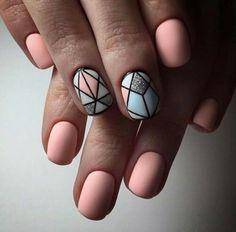 Pastel Nails: 35 Creative Pastel Nail Art Designs - Part 13 Ongles Beiges, Beauty And More, Pastel Nail Art, Neon Nail Art, Colorful Nails, Pink Art, Geometric Nail Art, Geometric Designs, Manicure E Pedicure