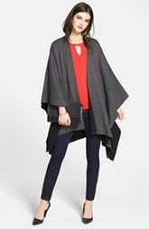Vince Camuto Reversible Poncho, Cap Sleeve Top & NYDJ 'Marilyn' Straight Leg Jeans