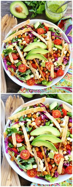 Roasted Chickpea Taco Salad Recipe on twopeasandtheirpo. This healthy and colorful taco salad is gluten-free and vegan! It is great as a side dish or main dish! Taco Salad Recipes, Mexican Food Recipes, Vegetarian Recipes, Cooking Recipes, Healthy Recipes, Taco Salads, Cooking Tips, Chickpea Tacos, Roasted Chickpea Salad