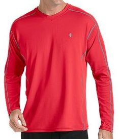 Coolibar red long sleeve UV Protective Men's Sport T-shirts UPF 50+ soft, light and fast drying