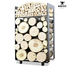 hyecoast The Dorset Log Holder Firewood Rack Log Basket Firewood Holder Log Storgae # Firewood Holder, Firewood Storage, High Heat Paint, Range Buche, Log Burner, Fireplace Design, Logs, Modern Design, Basket