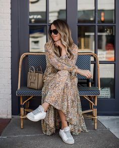 Fall Shopping: 10 Maxi Dresses to Pair with Sneakers (The Teacher Diva) Mode Outfits, Fall Outfits, Fashion Outfits, Womens Fashion, Diva Fashion, 80s Fashion, Skirt Outfits, Korean Fashion, Spring Fashion