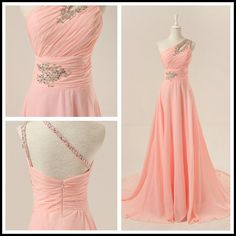 Im not a huge fan of pink but this is pretty :) Chiffon One-Shoulder A-Line Pearl Pink Long Evening Dress/Prom Dress/Formal Evening Dress With Sweep Train on Etsy, $136.99