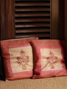 Orange Pink Block Printed Silk Cushion Covers - Set Of 2