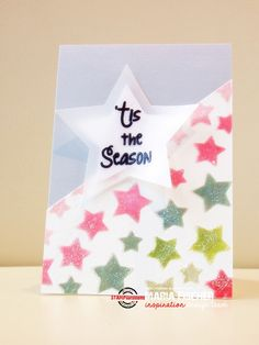 STAMPlorations™ Blog: {Spotlight Project} Maria Experiments with Stencils and Glitter and Paste Shimmery christmas card