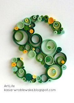 "THE LETTER ""S""~hand crafted ""S"" . quilling in running in circles ,. greens with spots of golden yellow . Arte Quilling, Quilling Letters, Origami And Quilling, Quilling Paper Craft, Quilling Flowers, Paper Flowers, Paper Crafts, Paper Quilling Tutorial, Paper Quilling Patterns"